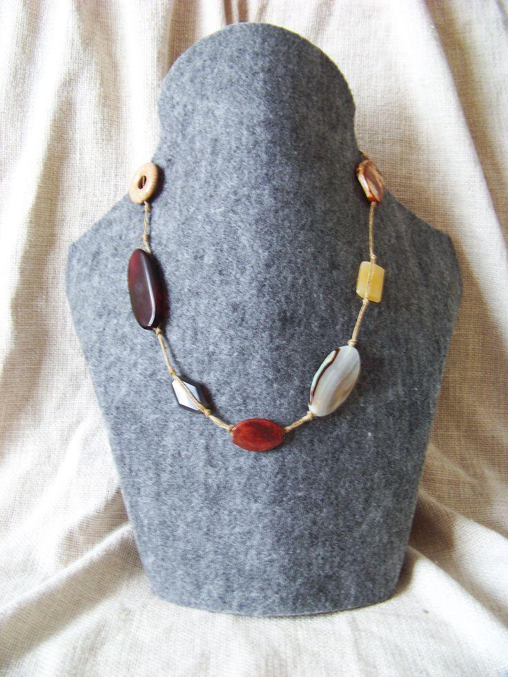 Agate necklace. Agate, murble, bronzite, yellow quartz. Boho.