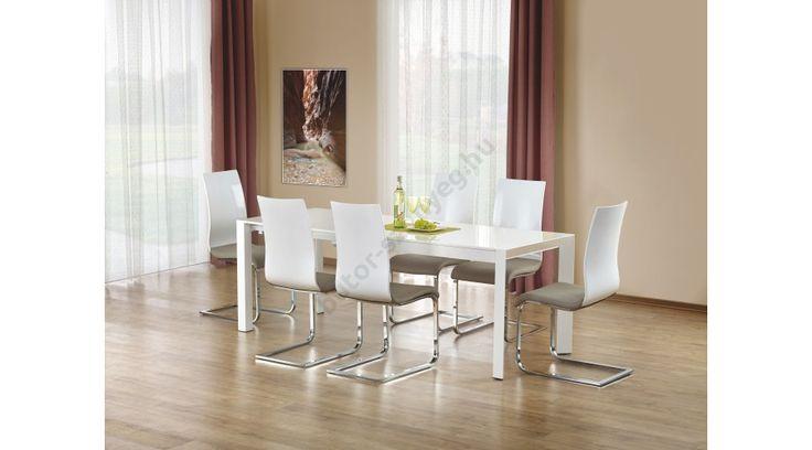 STANFORD XL - egy letisztult formájú, modern dizájnnal készült étkezőasztal, lakkozott MDF-ből, festett acél vázzal. Az étkezőasztal bővíthető, mérete: 130÷250/80/76 cm. Az asztal a fotón K198 székekkel látható, melyek nem tartoznak