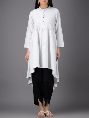 Ivory Hand-embroidered Asymmetrical Cotton Kurta with Gathers
