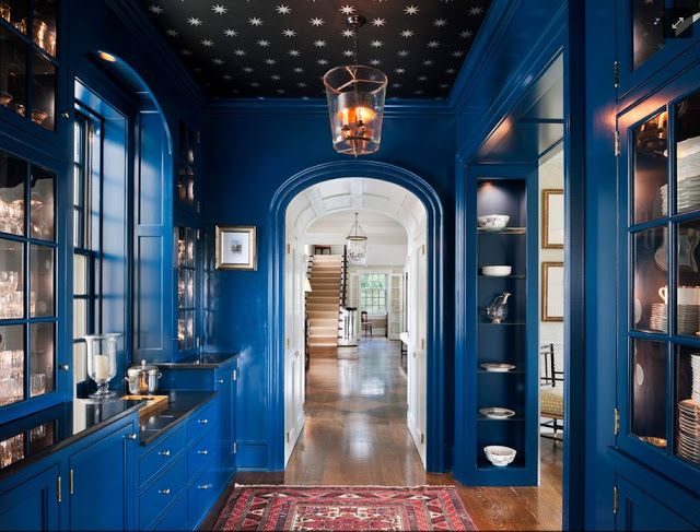 dark blue kitchen with stars on the ceiling!!!! YES PLEASE!