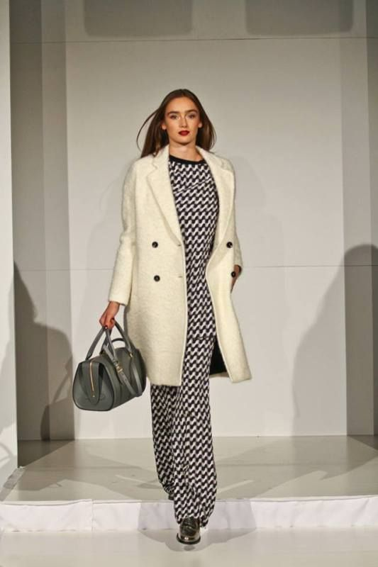 Harvey Nichols Leeds AW13 fashion show. Paul Smith Black coat, Joseph top and trousers, Alexander McQueen bag, Tods shoes | angelinthenorth....