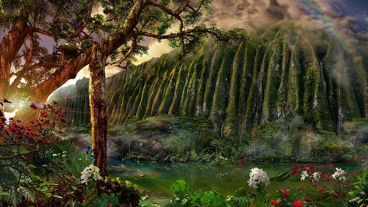 Jade Ponds / Satoshi Matsuyama  #Satoshi Matsuyama #Hawaii #art #Landscape