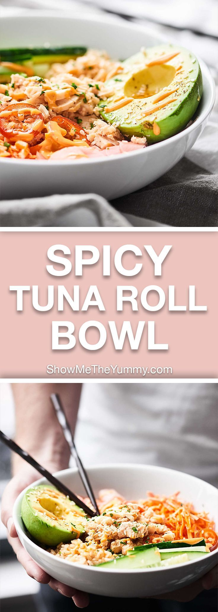 This Spicy Tuna Roll Bowl is a deconstructed version of the spicy tuna roll. Protein packed tuna, brown rice, and veggies all smothered in the most magically spicy mayo sauce. This bowl is *almost* too good to be true! showmetheyummy.com #tuna #healthy