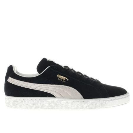 womens puma black & white suede classic trainers