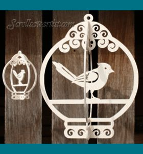 Scroll Saw Patterns :: Miscellaneous :: Birdcages & Birdhouses :: Slotted birdcage & ornament #1 -