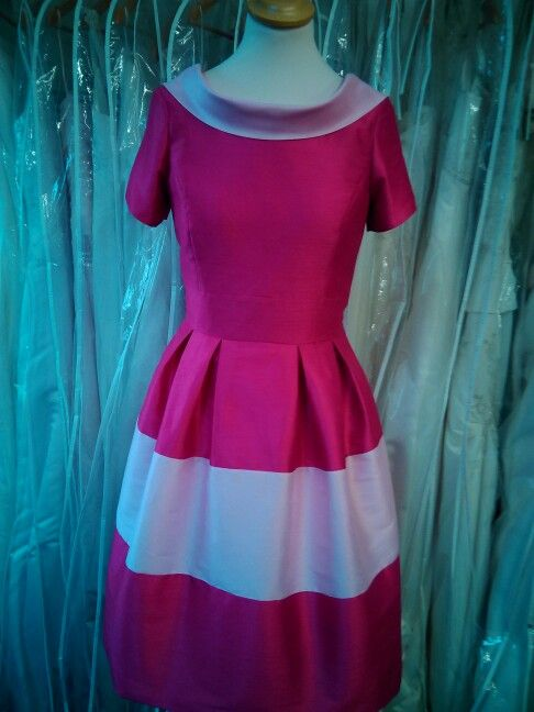 Pink silk dress with roll collar and full skirt