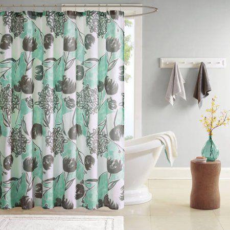 Home Essence Apartment Vera 100 Percent Microfiber Printed Shower Curtain, Blue