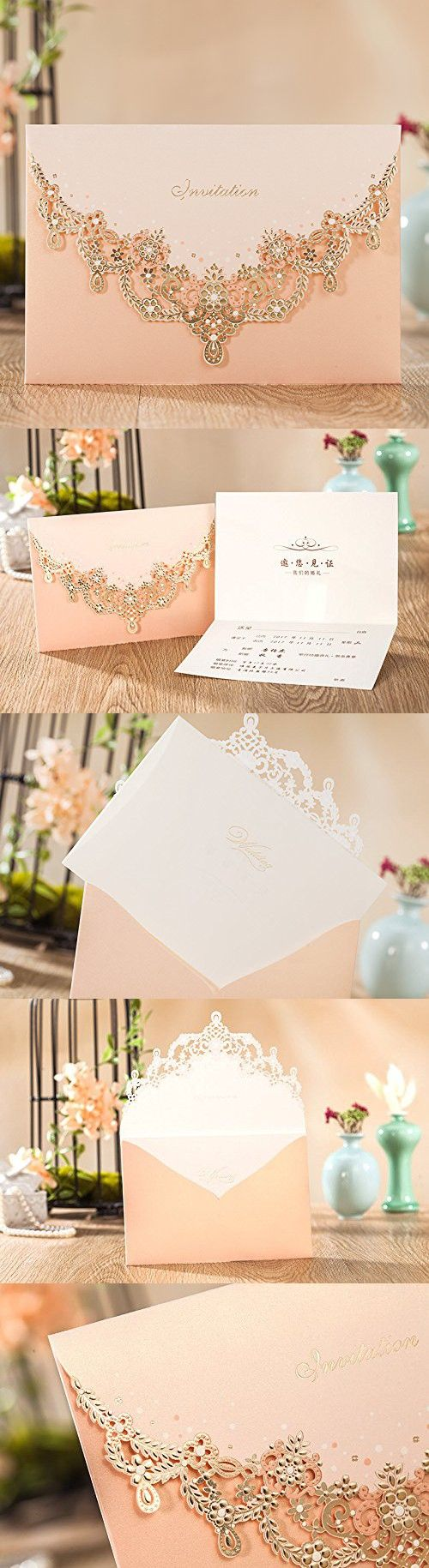 wedding invitation photo%0A Wishmade Wedding Invitations Cards  Light Pink     Pieces  CW       Customized Printing