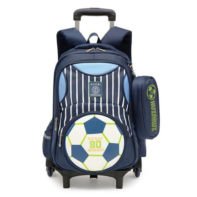 US 3PCS Children School Bag Trolley Backpack Wheels Removable Kids Boys