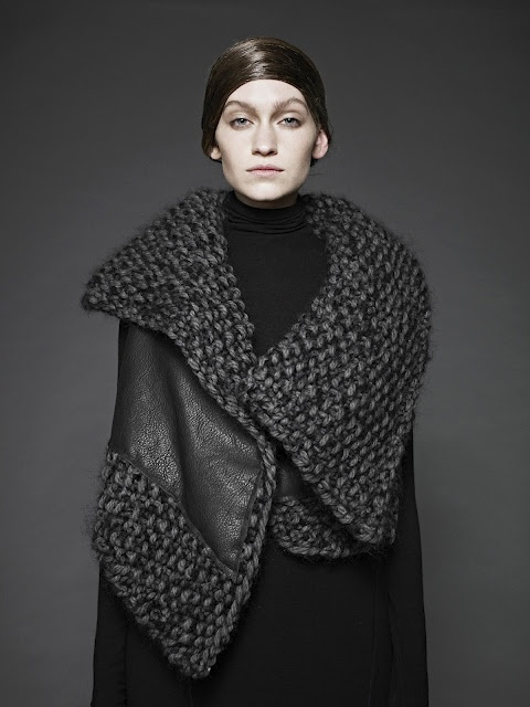 Design Inspiration, Sunghee Bang FW12 - mixed media...leather and heavy yarn...would be something to consider for a shrug design, sleeve and collar in yarn and body in very soft, drapeable leather or suede