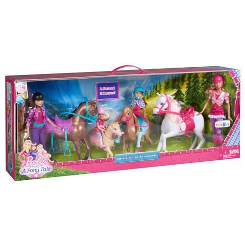 2012 Barbie and Her Sisters In A Pony Tale Horse Adventure Equestrian Girl XMAS Gift Skipper Stacie and Chelsea