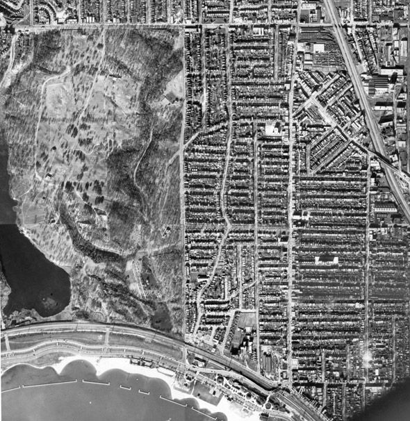 Aerial view of Roncesvalles, 1937