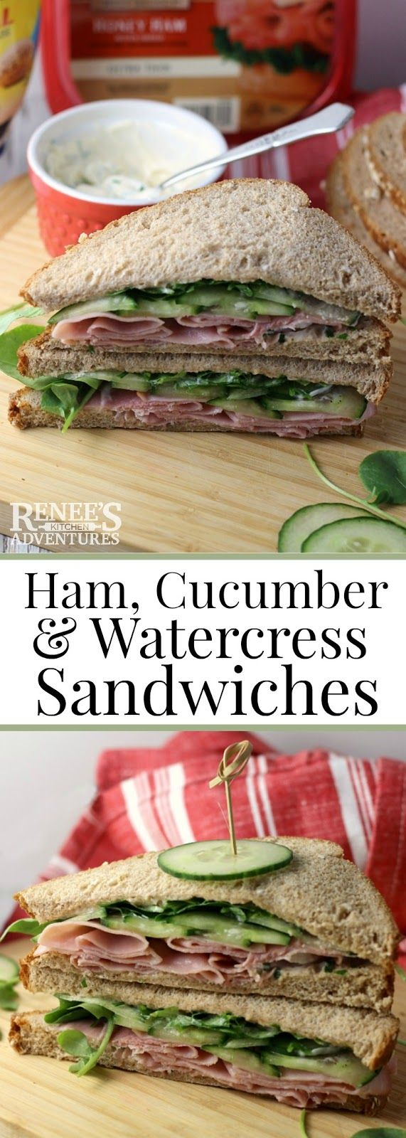 Ham, Cucumber and Watercress Sandwiches   Renee's Kitchen Adventures - easy sandwich recipe made with chive mayonnaise, ham, cucumbers and watercress. Great dinner or light lunch. #SandwichWithTheBest #ad