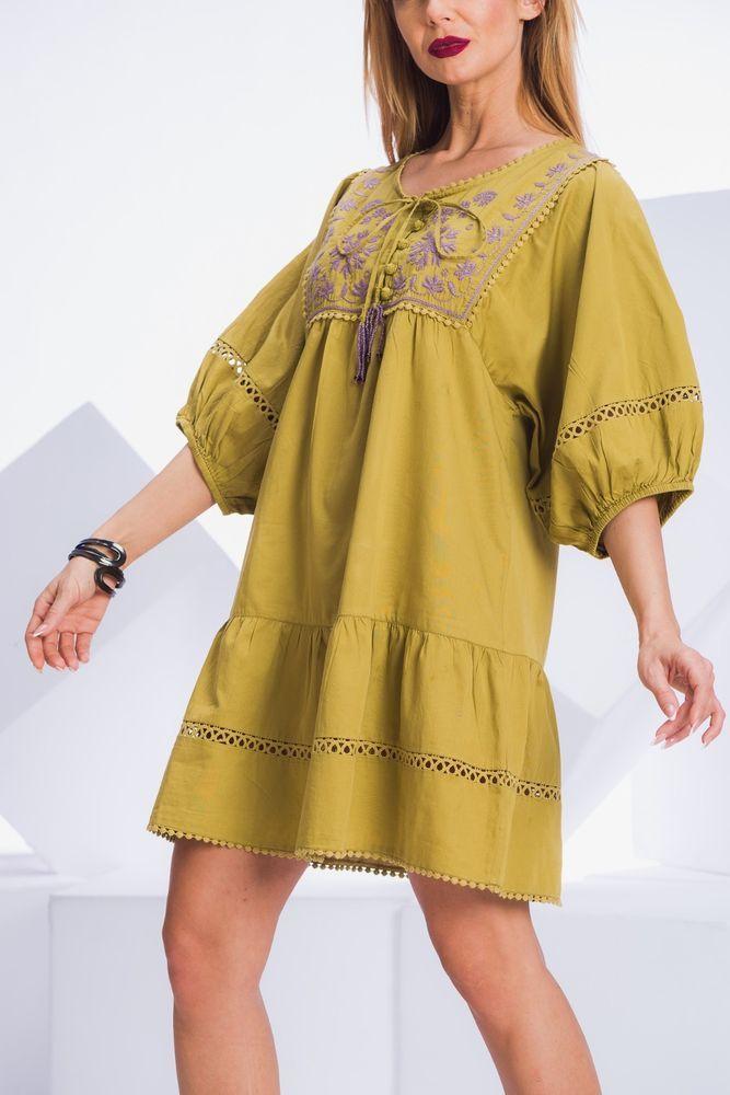 Boho Dress Tunic M Indiska Embroidered Short Sleeved Summer Tunic Top Blouse #Indiska #TunicKaftan #Casual