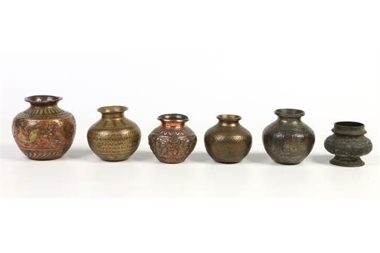 Six antique Indian Ganga Jumna lota or water vessels. In copper brass and bronze. With engraved a