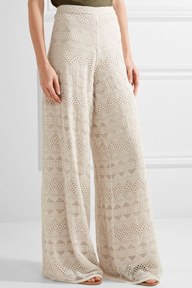 Alice Olivia - Athena Embroidered Silk-voile Wide-leg Pants - Ecru - US2