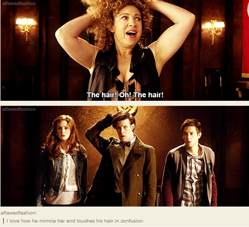 "I love all of their faces. Amy and Rory are like ""Melody is my River"" and the Doctor's like ""What is going on?!"""