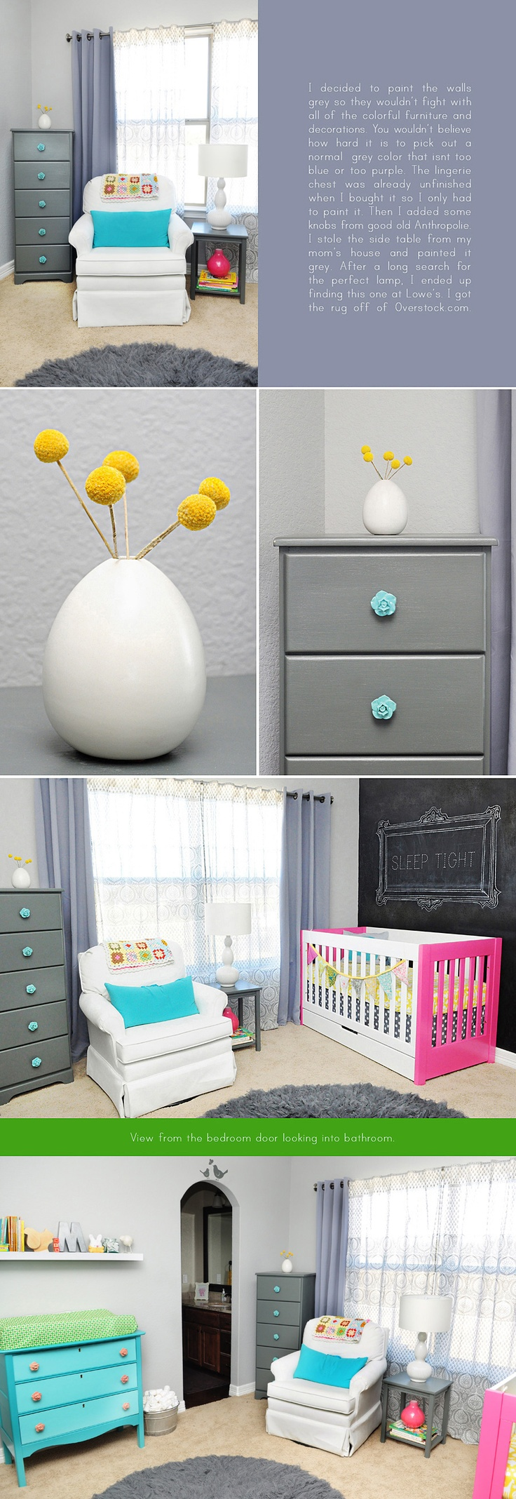 The flower knobs on that dressers just about kill me dead, but this whole nursery is probably the most gorgeous room I've ever seen.