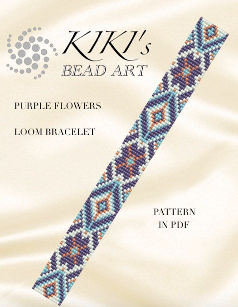 Bead loom pattern - Purple flowers ethnic inspired LOOM bracelet PDF pattern…