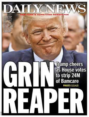 """Under the ledeHouse passes Obamacare repeal and replace bill after chaotic setbacks; Senate fight now loomsthe N.Y. Daily News has some choice commentary about yesterday's vote.      """"At one point during the celebratory press conference in the Rose..."""