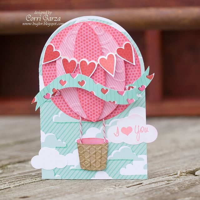 I just love the colors in Corri's Hot Air Balloon Card from the FOR MY VALENTINE SVG KIT.  Perfect for that special someone in your life!  Wouldn't this be a cute baby card with a few changes!