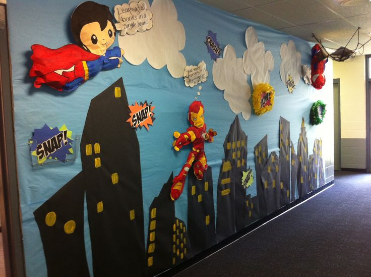Superhero wall for a 3rd grade classroom!