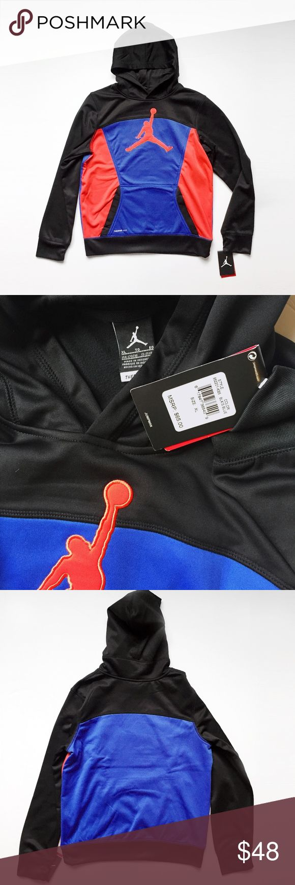 """NIKE JORDAN JUMPMAN thermafit hoodie sweatshirt XL NIKE   old school  oversized  jumpman. kanga pocket. therma-fit,  """" helps keep you warm and insulated """". 100 polyester.  size: boys XL, fits 13 - 15 years color: black, orange red, blue  new with tags, pet/smoke free  laid flat, seam - seam: chest: 21"""" shoulders: 17"""" shoulder to hem: 25"""" shoulder to cuff: 25""""  retro vintage basketball running athletic trainer training yeezy color block match matching flight club shoes nyc sneaker head…"""