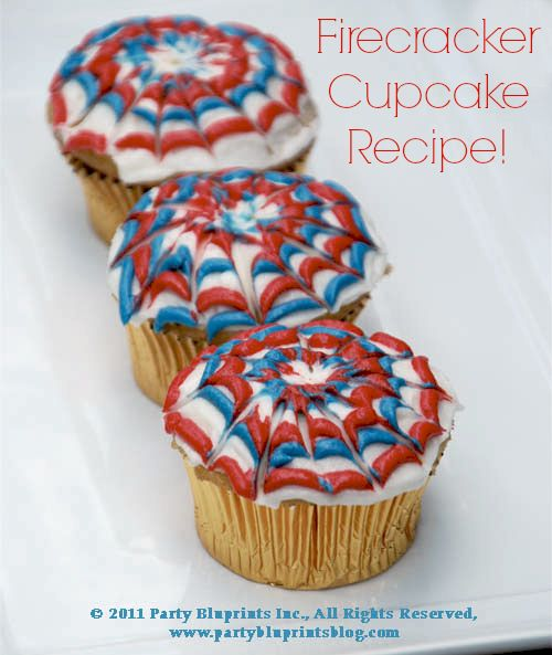 Easy 4th Of July Dessert– Firecracker Cupcakes Cupcakes (from your favorite recipe or box ;) 1.5 cups of white frosting red and blue food coloring 1. Place1/2 cup of icing in 2 separate bowls. Make red and blue icing. Place in ziploc bags and seal. Cut very end of bottom of corner of bag. 2. Ice top of cupcakes with white frosting. 3. pipe icing in concentric circles, using alternating colors....