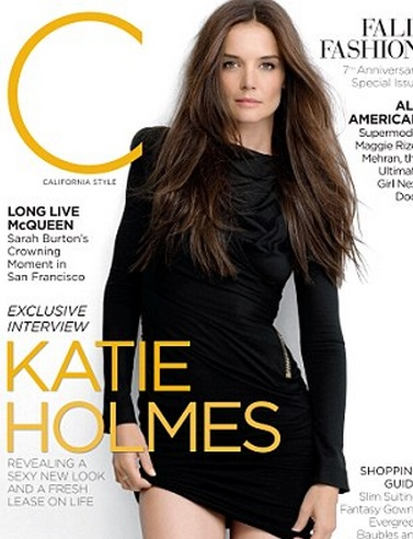 Who made Katie Holmes' black long sleeve dress that she wore on the cover of C magazine?