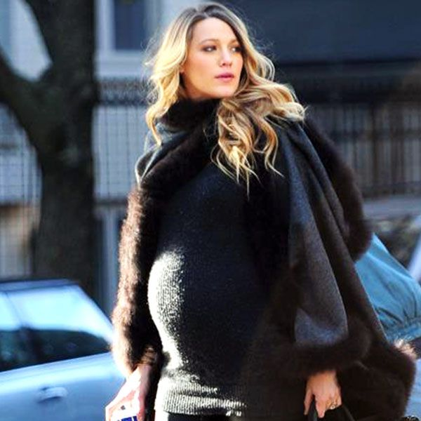 Blake Lively in NYC wearing the Alicia Adams Alpaca Fur Trimmed Cape