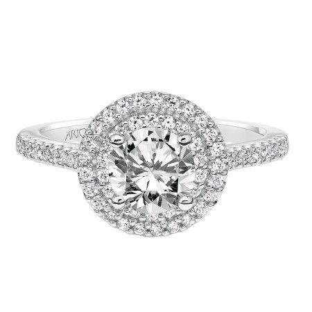 "14K White Gold ""Melinda"" Round Double Halo Artcarved Engagement Ring"