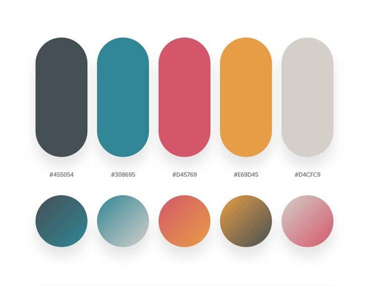 Blue. red. orange color schemes & gradient palettes in 2020 | Gradient color design. Color psychology. Flat color palette