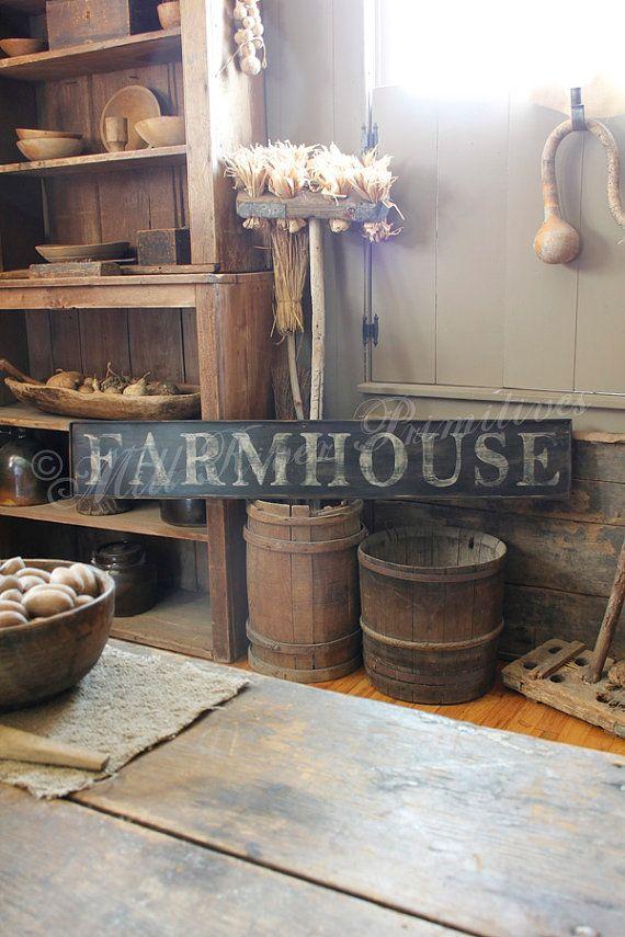 Early looking Antique Primitive FARMHOUSE by MillRiverPrimitives
