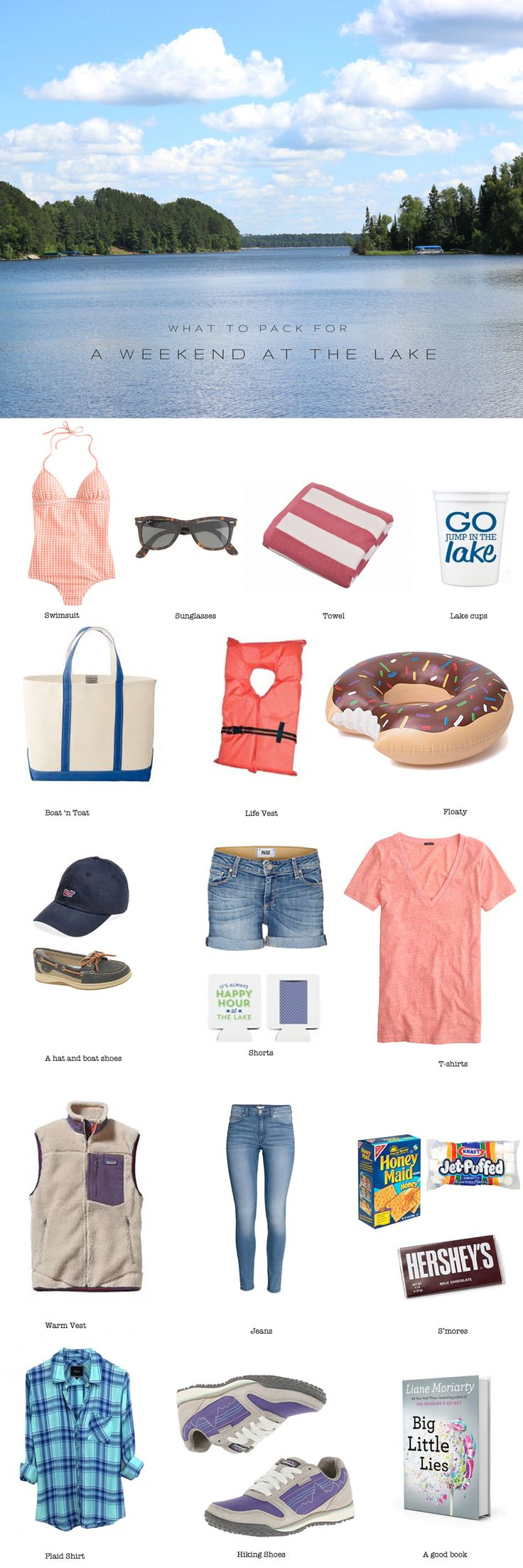 What to pack for a weekend at the lake. You're complete packing list for the perfect weekend getaway!
