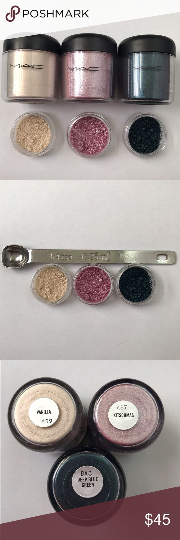 MAC Pigment Sample Set! 100% Authentic This sample set includes 1/4 teaspoon of each of the following pigments: Vanilla, Kitschmas, and Deep Blue Green! This is a perfect way to try out Authentic MAC Pigments without spending a fortune on them. These Pigments are perfect for any occasion! Get them while they last! SHIPS THE NEXT DAY! Pigments come in 3g BPA Free jars! MAC Cosmetics Makeup Eyeshadow