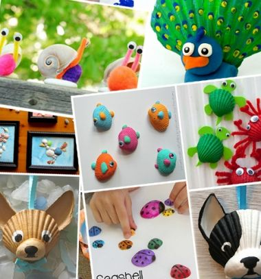 23 different seashell summer craft ideas for kids // 23 különböző kreatív ötlet kagylókkal és csigaházakkal gyerekeknek // Mindy - craft tutorial collection