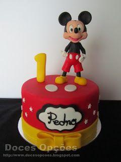 Doces Opções: Bolo com o Mickey para o primeiro aniversário do P...