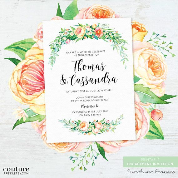 ENGAGEMENT INVITATION - SUNSHINE PEONIES _ _ _ _ _ _ _ _ _ _ _ _ _ _ _ _ _ _ _ _ _ _ _ _ _ _ _ _ _ _ _ _ _ _ _ _ _ _ _ _ _ _  THE LISTING INCLUDES