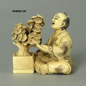 Japanese Old Man Taking Care His Plant Mammoth Ivory Netsuke Handcrafted Figurine Carving 34063-38 at www.precious-mammoth.com/shop