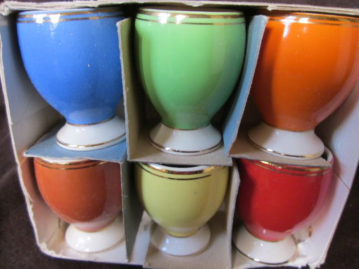 Set Six Coloured Egg Cups  Vintage Egg Cups, FS Romanian Porcelain. Mid Century Modern Egg Cups by Yesterdayshome on Etsy https://www.etsy.com/listing/217940310/set-six-coloured-egg-cups-vintage-egg
