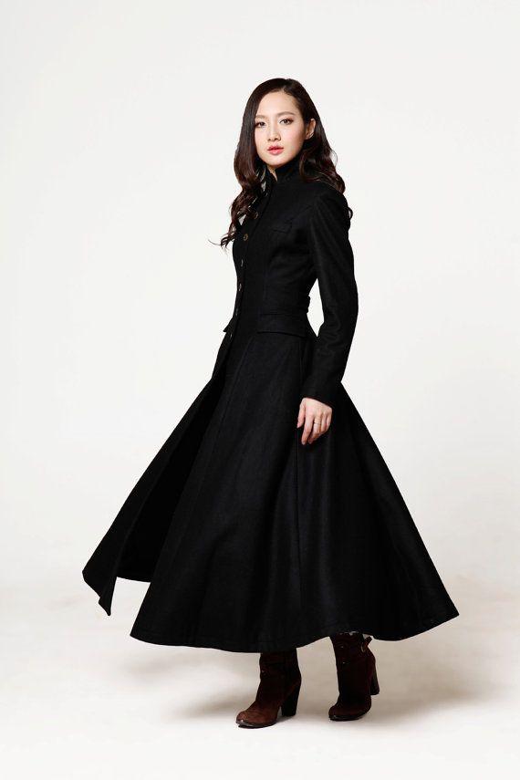 New Collection Black Coat Big Sweep Lapel Collar Mandarin Collar Women Wool Winter Coat Long Jacket Tunic / Fast Shipping - NC612