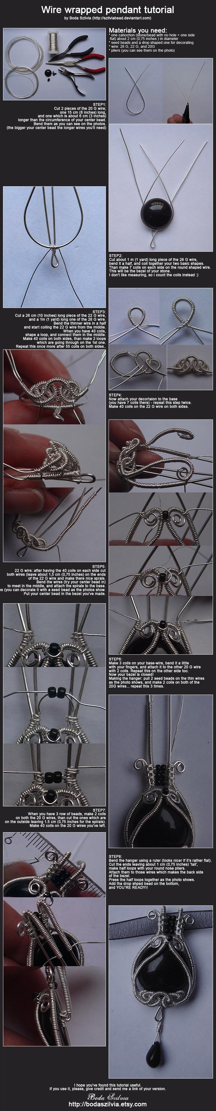 Wire Wrapped Pendant Tutorial by Boda Szilvia (http://szilviabead.deviantart.com)