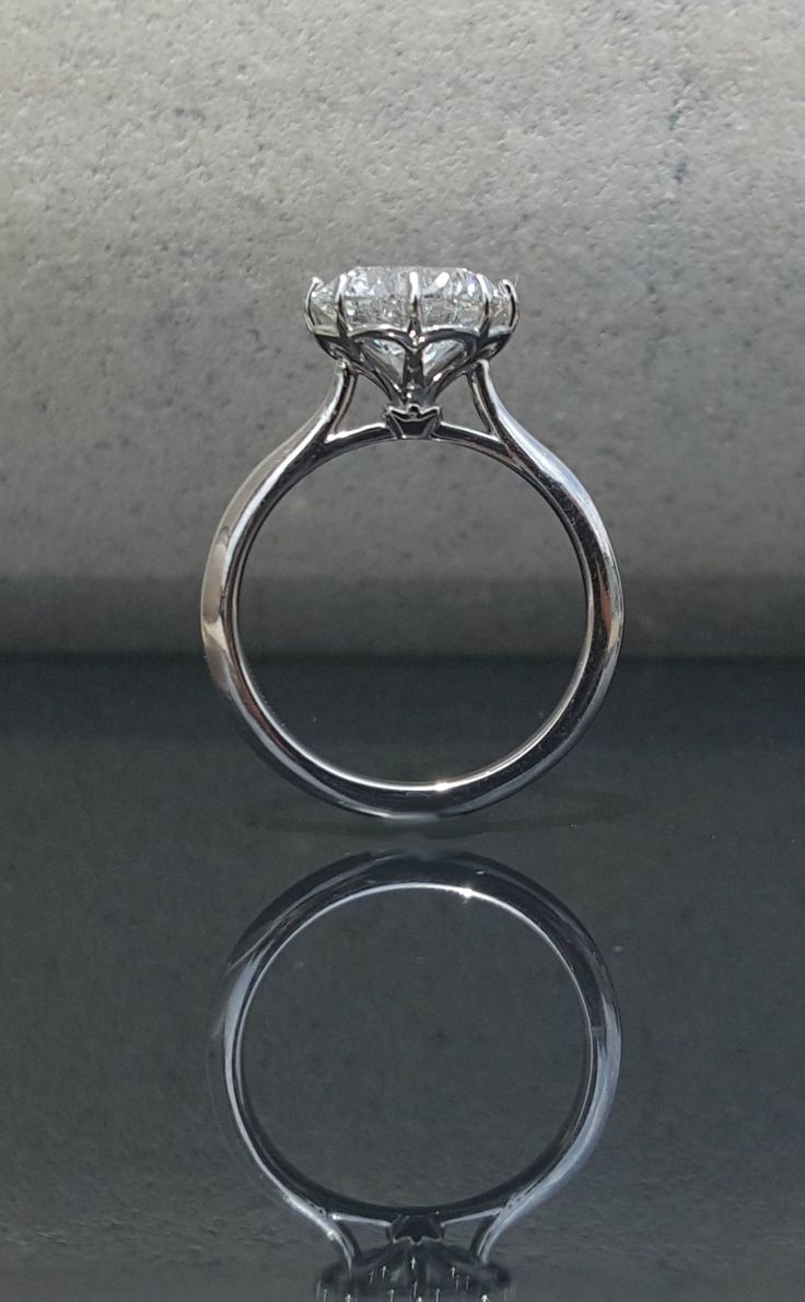 Flower Petal Solitaire, 8 Prong Solitaire, Round Solitaire, White Gold Solitaire, Pointed Prongs, Round Engagement Ring, Diamond Solitaire
