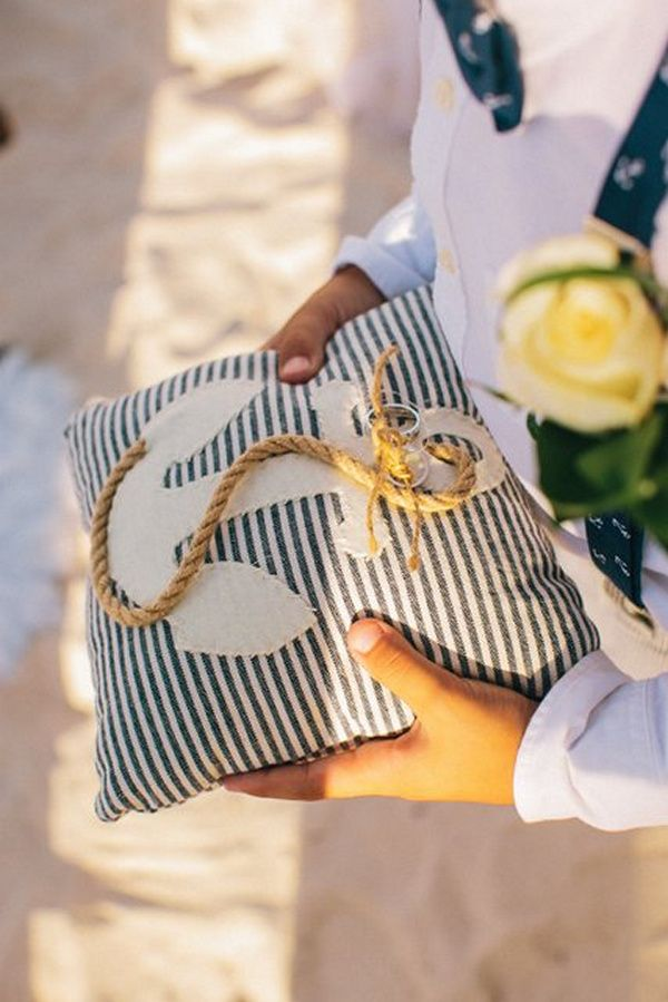 How adorable is this ring bearer pillow?!      Real Wedding: Courtney and Bradlee's Beach Wedding