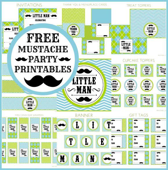 Free Full Set of Mustache Bash Printables #mustachebash #littleman #freeprintables