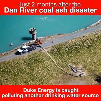 """Breaking: Duke Energy Caught Dumping Wastewater from Coal Ash Lagoon Into Local Watershed - """"The revelation comes less than 2 months after the Dan River disaster, where at least 30,000 tons of coal ash spilled from another of Duke Energy's toxic coal ash lagoons. The pumping also came just days before a fed'l grand jury convenes in Raleigh to hear evidence in a criminal investigation of Duke Energy, the North Carolina Dept. of Environment and Natural Resources (DENR) & the handling of coal…"""