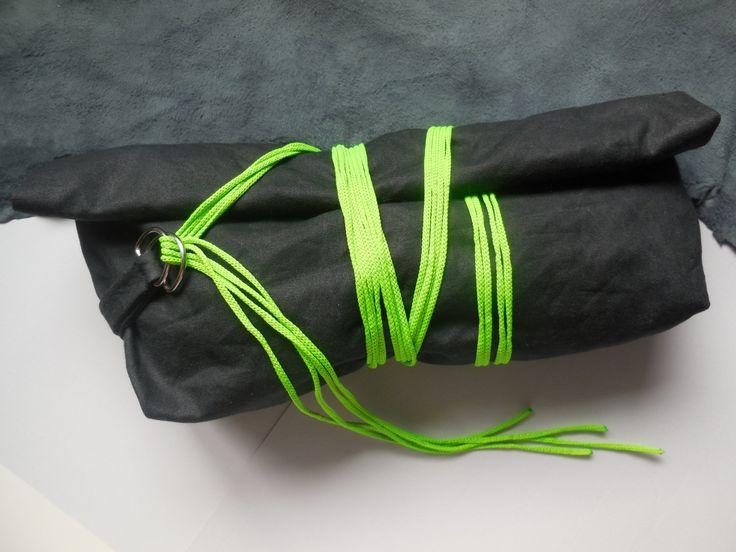 Clutch Bag - Black and Green Clutch Bag - Waxed Cotton Handbag - Wrapped Cord Clutch Bag - Womens Purse Pocket Book - Green Eveningbag by DesignArtJoy on Etsy
