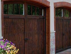 Wood garage door with arched windows
