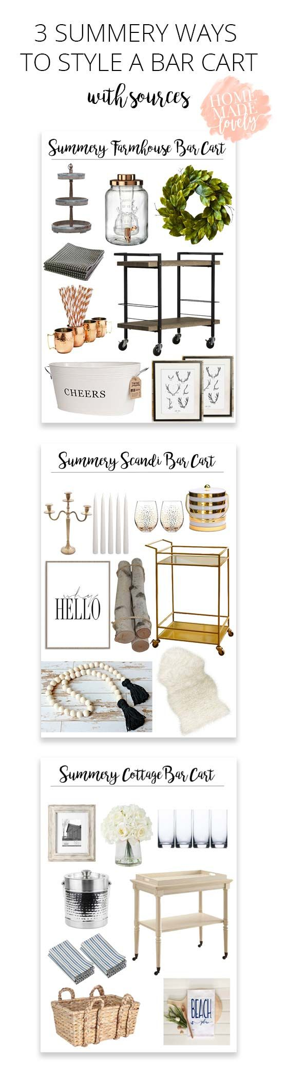 Summer is the perfect time to throw a get together - take a look at how to style a bar cart for a farmhouse, cottage or Scandinavian home! via @homemadelovely