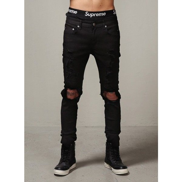 Destroyed Super Skinny Mono Jeans ($40) Liked On Polyvore Featuring Jeans Boys Pants Skinny ...